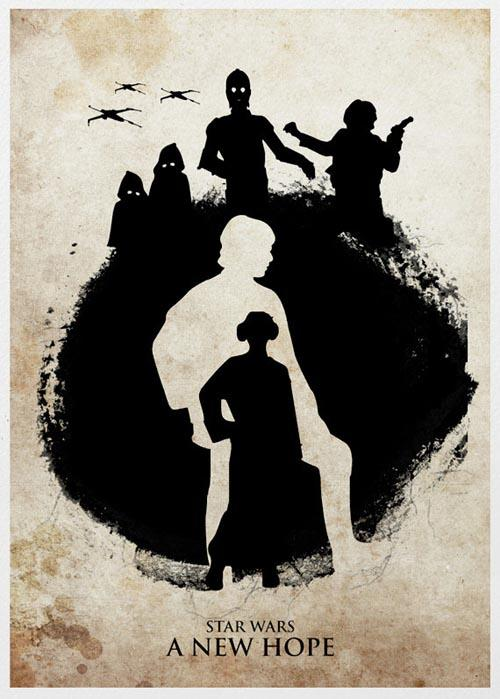The Silhouette Styled Star Wars Trilogy Poster Set