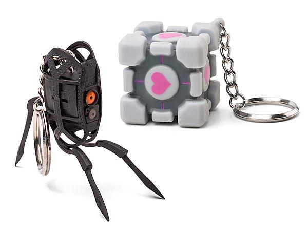 Portal 2 Turret and Companion Cube Vinyl Keychains