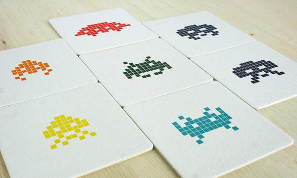 Space Invaders Letterpress Coaster Set