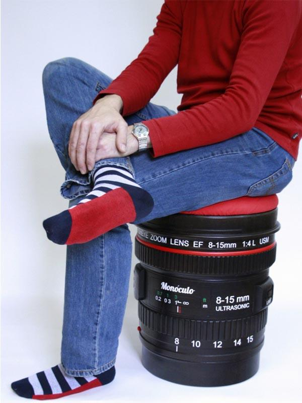 The DSLR Camera Lens Shaped Stool with Storage