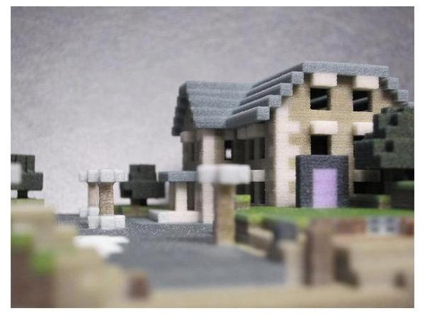 3D Printed Minecraft Mansion Hotel Model