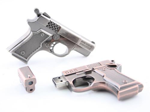 Metallic Handgun Shaped USB Flash Drive
