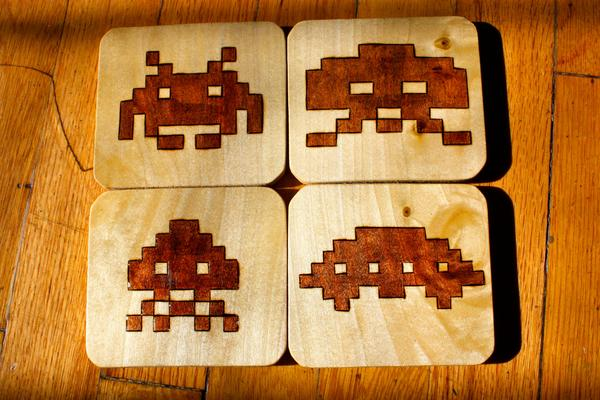 Space Invaders Wood Coaster Set
