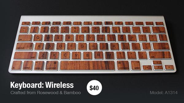 The Wooden Keyboard Skin Set for MacBook and Apple Keyboards