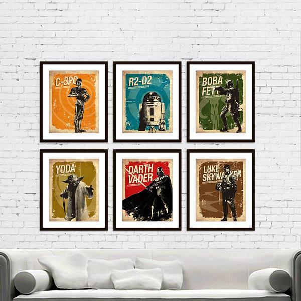 Star Wars Vintage Silhouette Poster Set