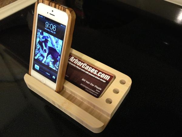The Handmade Bamboo iPhone Stand with Card Holder