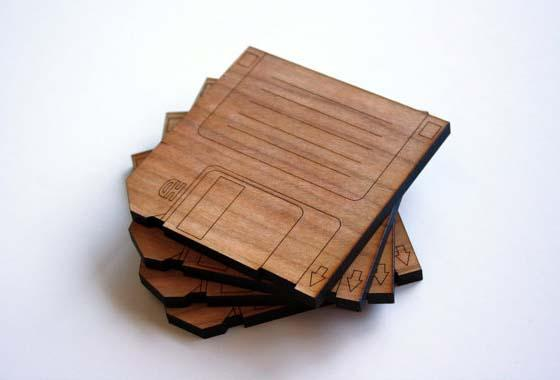 The Handmade Floppy Disk Inspired Wood Coaster Set