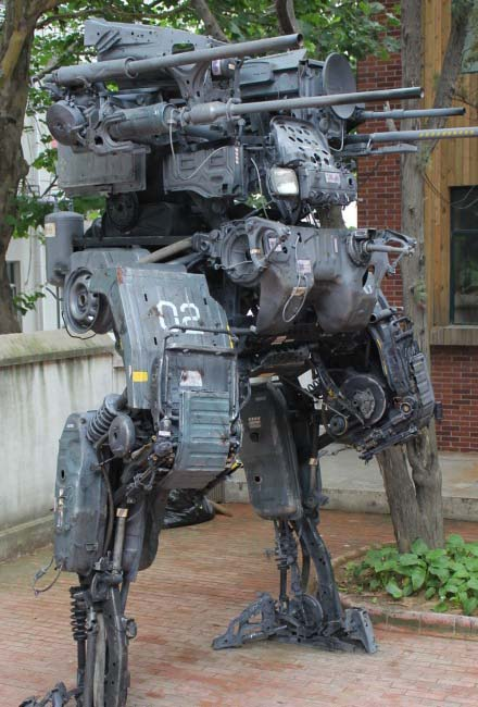 the huge mecha built with old truck gadgetsin