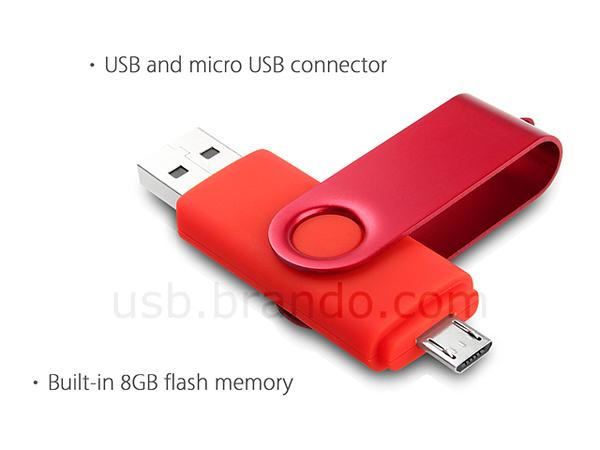 The USB Flash Drive With USB and Micro USB Connectors