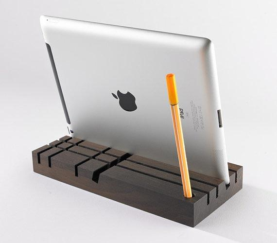 Tobago Wood Desk Organizer and Tablet Stand