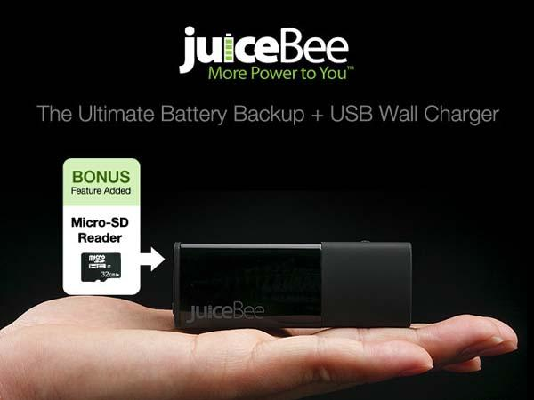 juiceBee 2-in-1 Backup Battery and USB Wall Charger