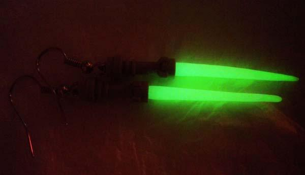The Handmade Glowing Star Wars Lightsaber Earrings