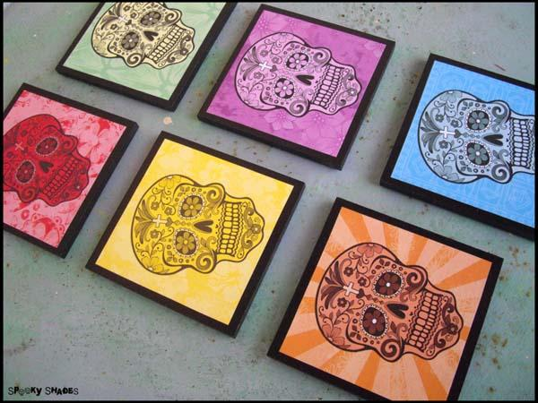 Rainbow Sugar Skull Drink Coaster Set