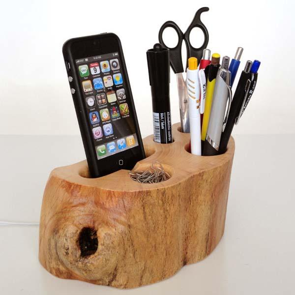 The Handmade Wood Desk Organizer Dock with iPhone Dock ...