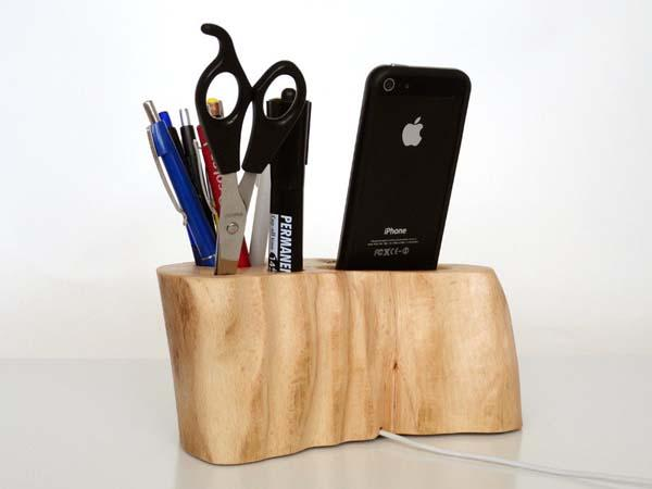 The Handmade Wood Desk Organizer Dock with iPhone Dock
