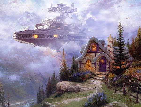 The Amazing Mashups of Star Wars and Thomas Kincade's Paintings