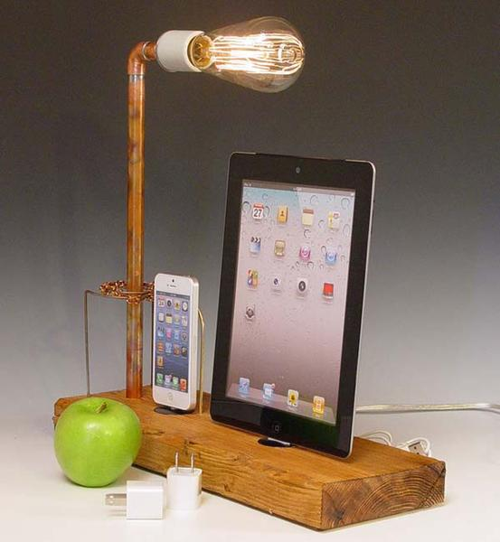 The Handmade Docking Station with Table Lamp for iPhone and iPad