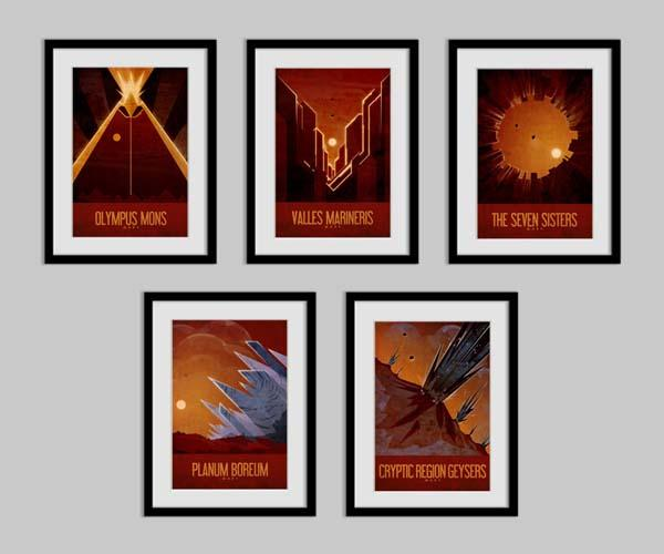 The Mars Travel Poster Set
