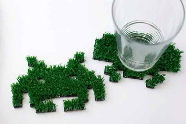 Green Grass Space Invaders Coaster Set