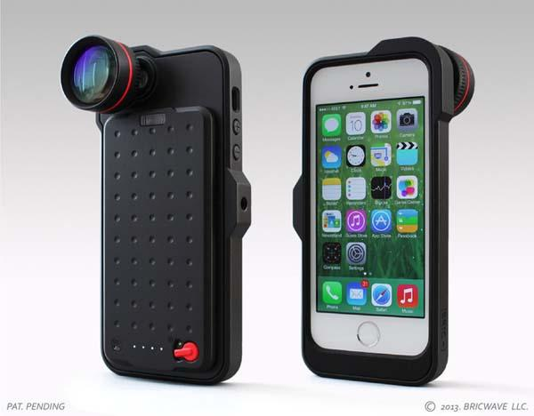 [BRIC+] iPhone 5s Case with Backup Battery, Zoom Lens & Tripod Mount