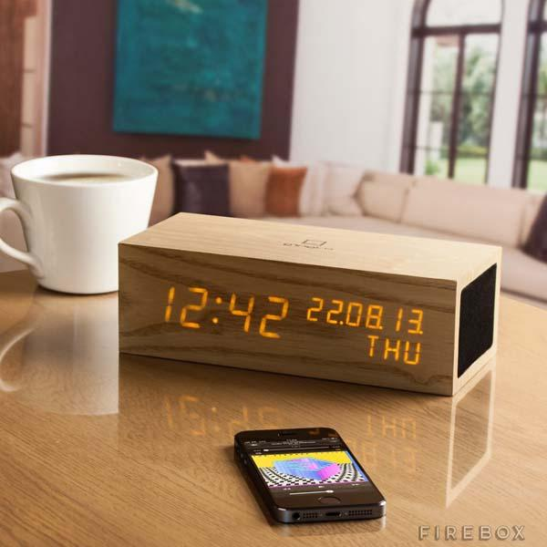 The Wooden Bluetooth Click Clock with Speaker