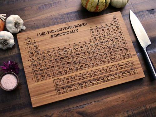 The Handmade Periodic Table Engraved Wood Cutting Board