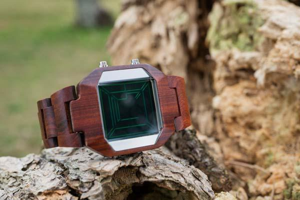 Tokyoflash Kisai Space Digits Wood LCD Watch