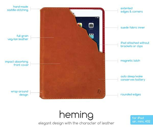 Heming Elegant Hand-Stitching Leather iPad Case
