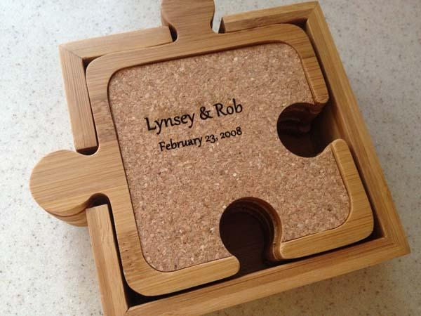 The Jogsaw Puzzle Inspired Bamboo and Cork Coaster Set