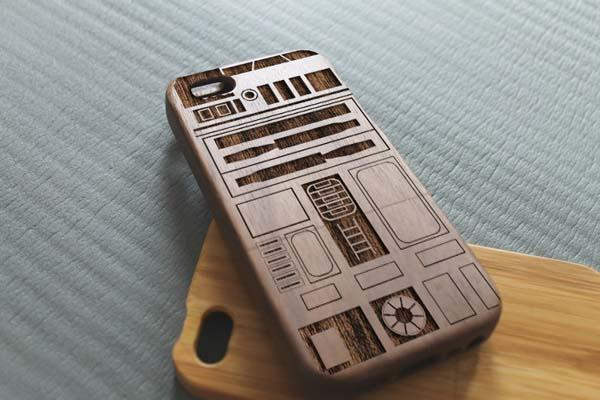 The Star Wars Wooden iPhone 5s Case with R2-D2 Inspired Engraved Pattern