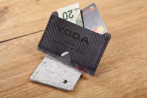 Y.O.D.A Carbon Leather & Felt Card Holder