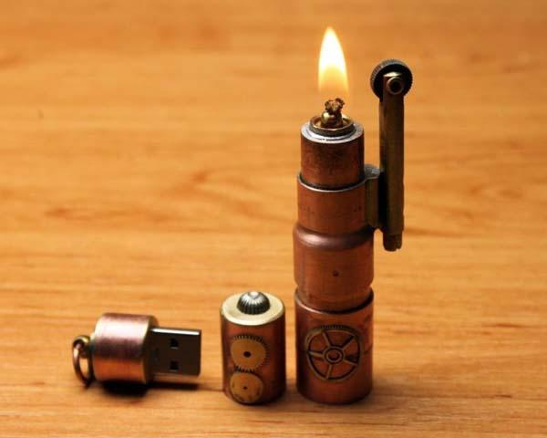 The Handmade Steampunk USB Flash Drive with Lighter