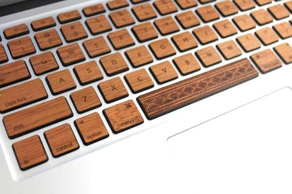 The Handmade Wood MacBook Keyboard Skin Set with Custom Spacebar