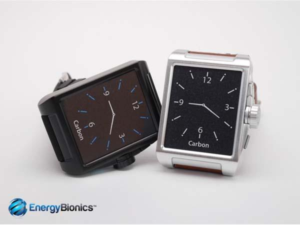 Carbon Watch with Solar Charger for Smartphone