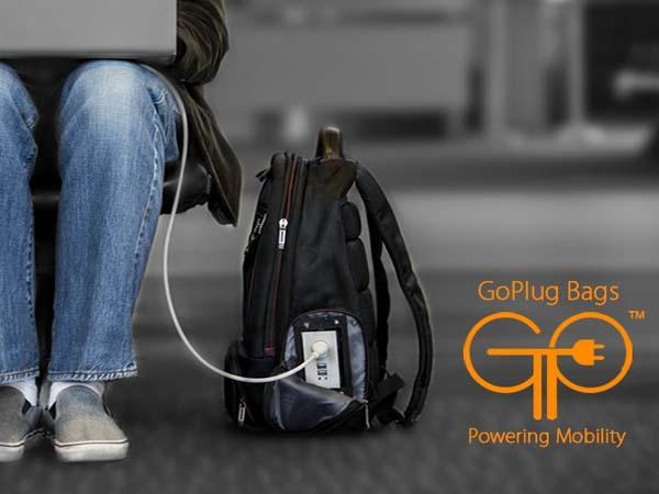 GoPlug Waterproof Laptop Backpack with Backup Battery and AC Outlet