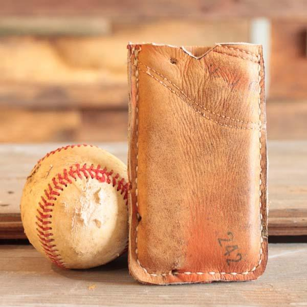 Handmade Recycled Baseball Glove iPhone Case