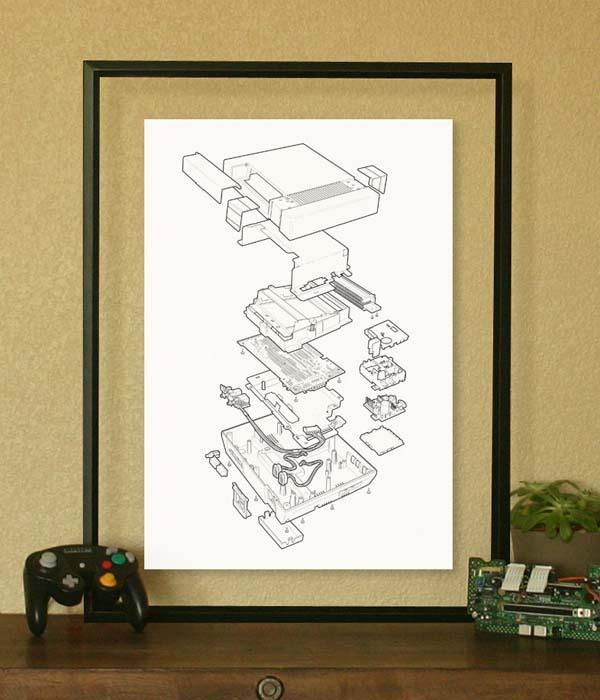 Old-School Game Console Technical Poster Collection