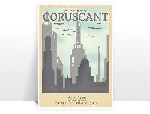 Retro Star Wars Travel Poster Set