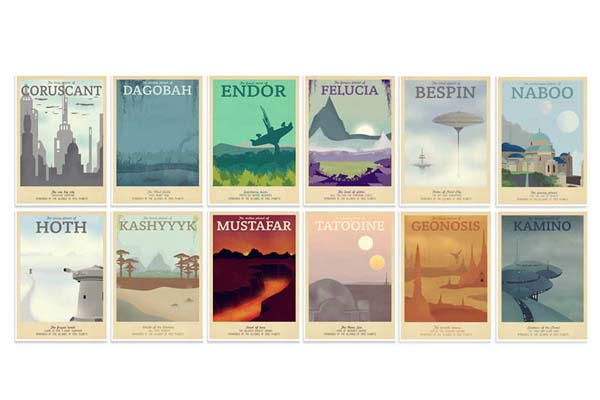 Retro Star Wars Travel Poster Set