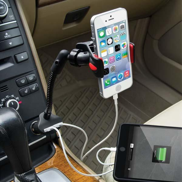 The Dual USB Car Charger with Phone Holder