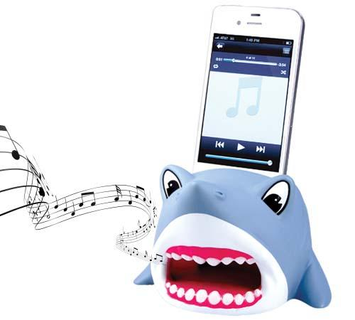 The Shark iPhone Stand with Audio Amplifier
