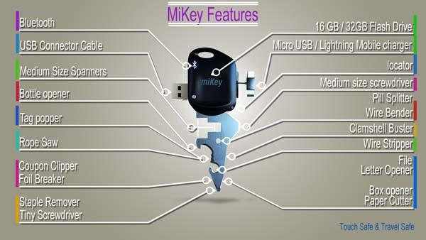 miKey Smart Multi-Tool with Backup Battery, USB Drive and More