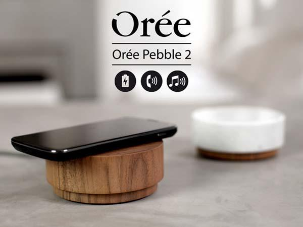 Orée Pebble 2 Wireless Charger with 360-Degree Bluetooth Speaker