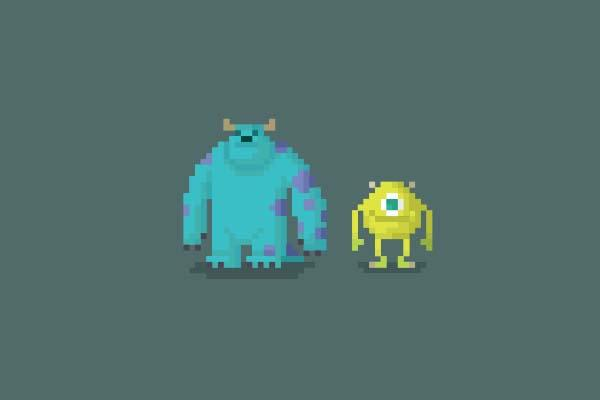 Pixelated Cartoon Characters from Famous Animated Movies