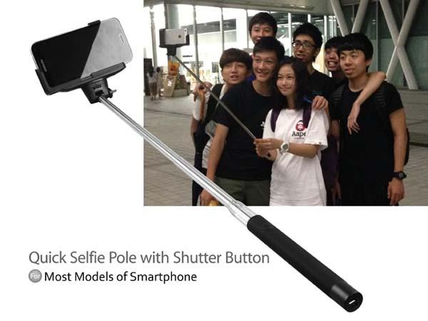 Retractable Quick Selfie Pole with Shutter Button