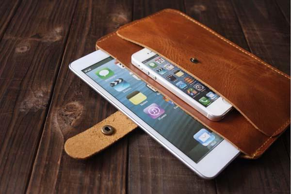The Handmade Leather iPad Mini Case with a Pocket for iPhone
