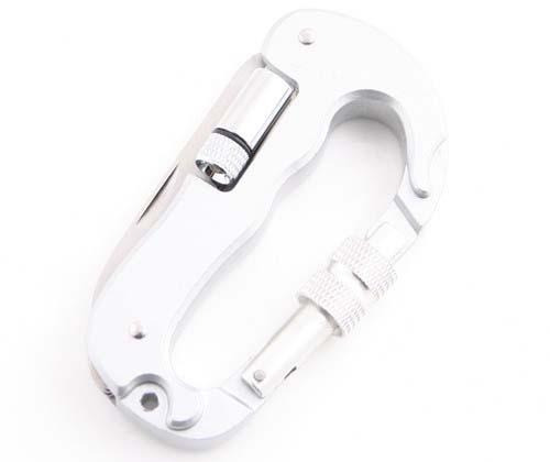 The Multi Functional Carabiner with Pocket Knife, Saw and LED Flashlight