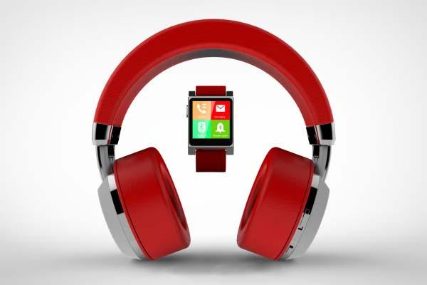 Tattoo Audio Bluetooth Headphones with Integrated Smart Watch