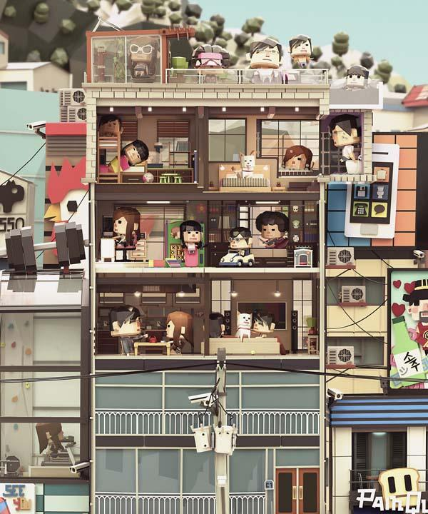 The Awesome Papercraft Styled Illustration Shows The City Life In