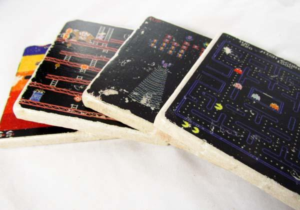 The Handmade Retro Video Game Inspired Coaster Set
